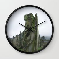 smaug Wall Clocks featuring stone dragon (Smaug) by Foundtique