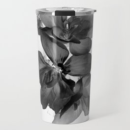 Black Geranium in White Travel Mug