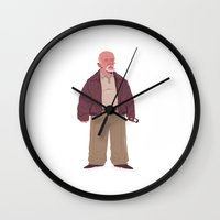 mike wrobel Wall Clocks featuring Mike by Mikhail Kalinin