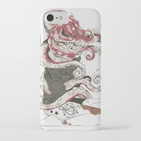huebucket iPhone & iPod Cases featuring My head is an octopus by Huebucket