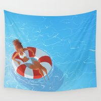 grateful dead Wall Tapestries featuring Grateful For by Joelle Murray