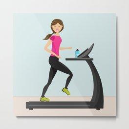 Girl Running On A Treadmill Cartoon Illustration Metal Print