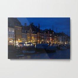 Nyhavn Copenhagen at Night Metal Print