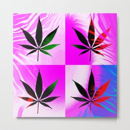 GreenRush - PopLeaf Pink Metal Print