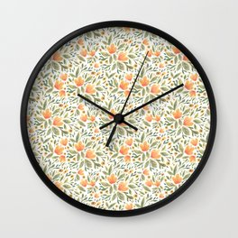 Peachy Flower Medley Wall Clock