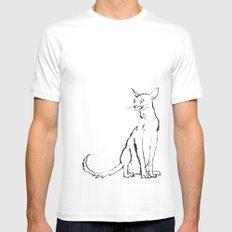 Skinny cat illustration White Mens Fitted Tee MEDIUM