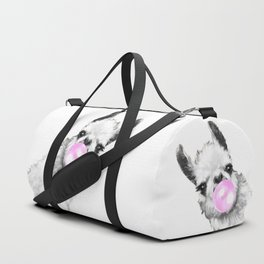 Bubble Gum Sneaky Llama Black and White Duffle Bag