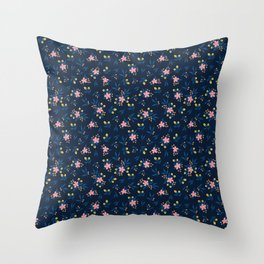Pink Florals on Blue Throw Pillow