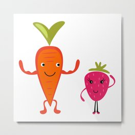 Carrot flirting with Strawberry Metal Print