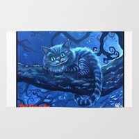 cheshire Area & Throw Rugs featuring Cheshire Cat by Tom C Carlton