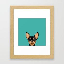 Chihuahua dog head pet portrait cute pet art chiwawas dog breed pure breeds Framed Art Print