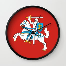 State Flag of Lithuania Knight On Red Wall Clock