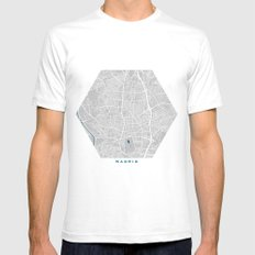 Madrid city map grey colour SMALL White Mens Fitted Tee