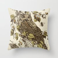 leaves Throw Pillows featuring Great Horned Owl by Teagan White