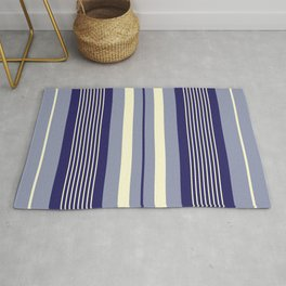 Blue and light yellow stripes pattern Rug