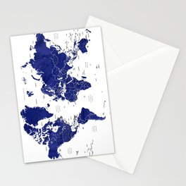 Navy blue world map with countries Stationery Cards