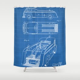 Fire Truck Patent - Fireman Art - Blueprint Shower Curtain