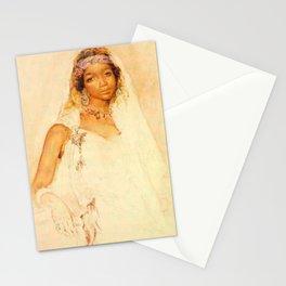 Portrait d'une jeune fille marocaine - MARIANO JOSÉ MARÍA BERNARDO FORTUNY Y CARBÓ  Stationery Cards