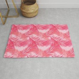 Palm Leaf Print, Coral, Peach and Pastel Pink Rug