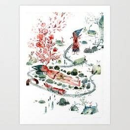 Colossal Watercolor Village Elf Gnomes Art Print