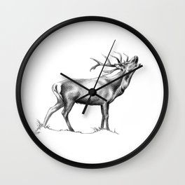 Red Stag Roaring 2 Wall Clock
