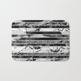 Black And White Layered Collage - Textured, mixed media Bath Mat
