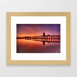 Sunset In Motion Huntington Beach Pier * Photo: Steve Berger Framed Art Print