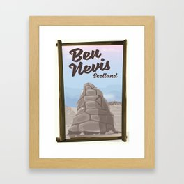 Ben Nevis Scotland vacation poster Framed Art Print