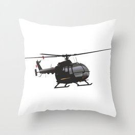 Black German Helicopter Bo.105 Throw Pillow