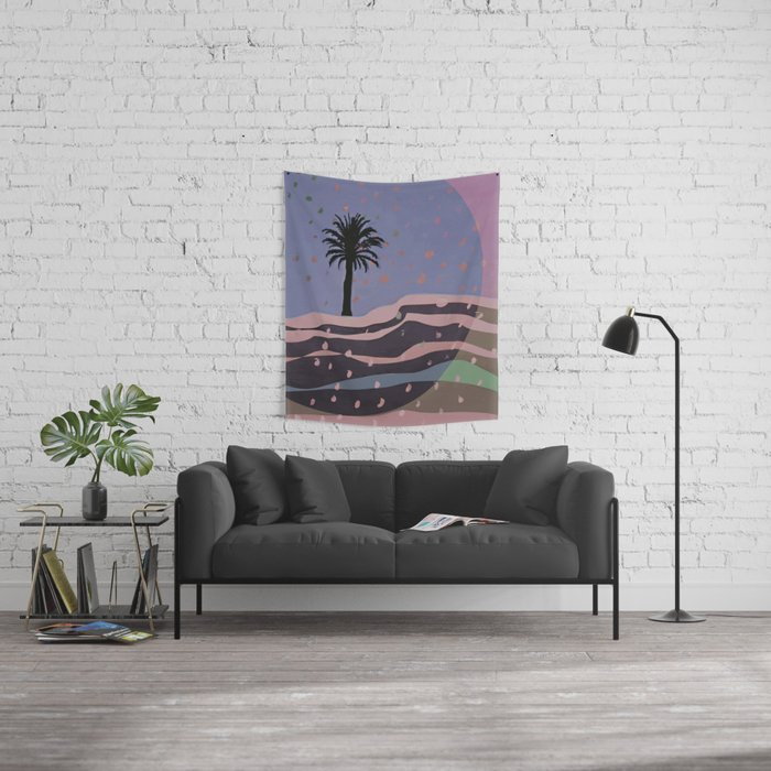 Autumnal Air around the Palm Tree Wall Tapestry