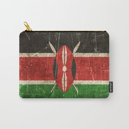 Vintage Aged and Scratched Kenyan Flag Carry-All Pouch