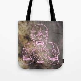 three skulls, a triangle and some stars Tote Bag
