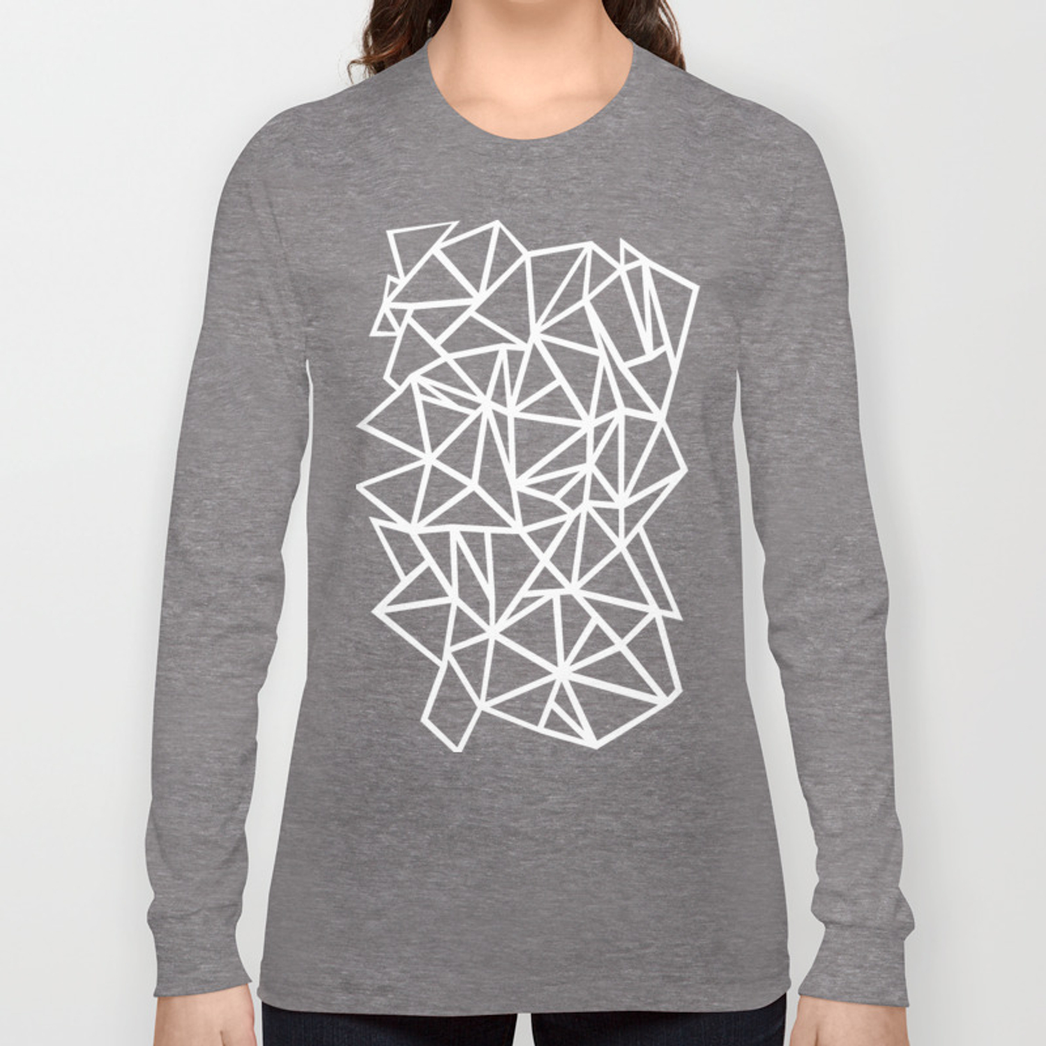 8915b6421949 Abstract Outline Thick White on Black Long Sleeve T-shirt by projectm |  Society6