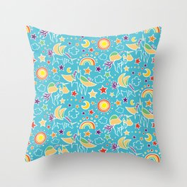 Pegasus Play by Mellie Test Throw Pillow