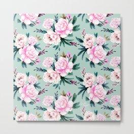 Lush Floral - Aqua Metal Print