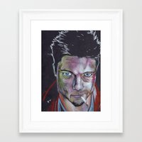 tyler durden Framed Art Prints featuring Tyler Durden by Danny Allain