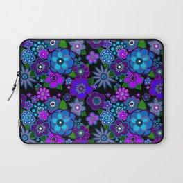Yesterday People Super groovy Flowers dark base purple Laptop Sleeve