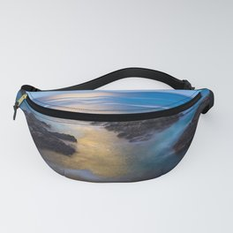On the Rocks - Moonlight Reflects Off Pacific Ocean in California Fanny Pack