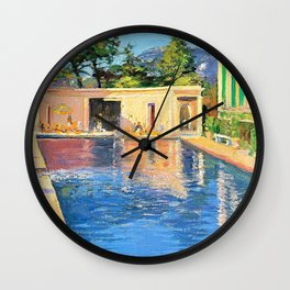 Sir John Lavery - A blue swimming pool at Cannes - Digital Remastered Edition Wall Clock