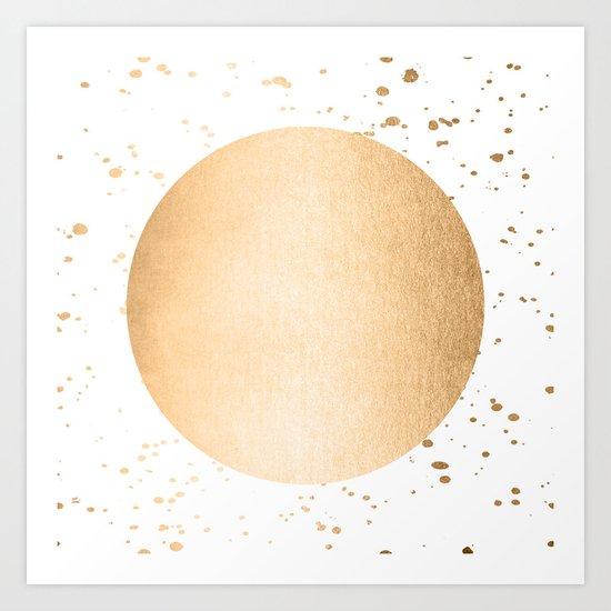 Sun Paint Spatter in Orange Sherbet Shimmer Art Print