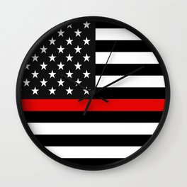 Thin Red Line American Flag Wall Clock