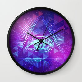 Eye of Providence. Alchemy, religion, spirituality, occultism. Wall Clock