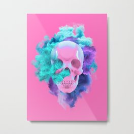 Colored Smoking Skull Metal Print