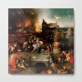 "Hieronymus Bosch ""Temptation of Saint Anthony"" (Antiga) 1 central panel Metal Print"