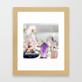 Flowers and Crystals Framed Art Print