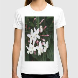 Delicate White Jasmine Blossom with Green Background T-shirt