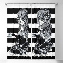 Black & White Sugar Skull Girl Blackout Curtain