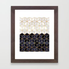 White & Navy Cubes Framed Art Print
