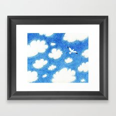 Seagull in the sky Framed Art Print