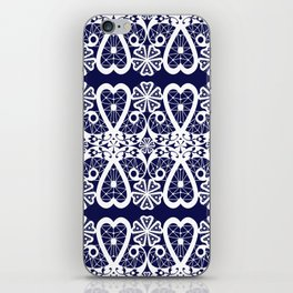Retro . Lace blue white pattern . White lace on blue background . iPhone Skin